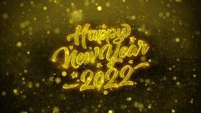 Tarjeta de felicitaciones de los deseos del Año Nuevo 2022, invitación, fuego artificial de la celebración stock de ilustración