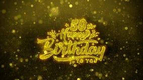 50.a tarjeta de felicitaciones de los deseos del feliz cumpleaños, invitación, fuego artificial de la celebración libre illustration