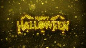 Tarjeta de felicitaciones de los deseos del feliz Halloween, invitación, fuego artificial de la celebración