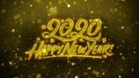 Tarjeta de felicitaciones de los deseos de la Feliz Año Nuevo 2020, invitación, fuego artificial de la celebración ilustración del vector