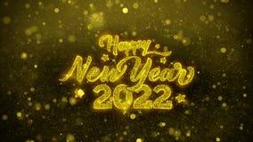 Tarjeta de felicitaciones de los deseos de la Feliz Año Nuevo 2022, invitación, fuego artificial de la celebración ilustración del vector