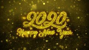 Tarjeta de felicitaciones de los deseos de la Feliz A?o Nuevo 2020, invitaci?n, fuego artificial de la celebraci?n libre illustration