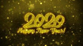 Tarjeta de felicitaciones de los deseos de la Feliz A?o Nuevo 2020, invitaci?n, fuego artificial de la celebraci?n ilustración del vector