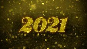 Tarjeta de felicitaciones de los deseos de la Feliz A?o Nuevo 2021, invitaci?n, fuego artificial de la celebraci?n stock de ilustración