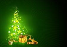 Tarjeta de felicitaciones verde de la Navidad Fotografía de archivo