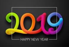 Tarjeta de Grey Happy New Year 2019 con las figuras de neón ilustración del vector