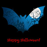Tarjeta de Halloween con el castillo Fotos de archivo