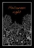 Tarjeta de Halloween con el cementerio libre illustration