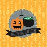Tarjeta de Halloween con el fondo inconsútil Vector Foto de archivo libre de regalías