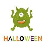 Tarjeta de Halloween con el monstruo lindo Fotografía de archivo