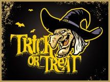 Tarjeta de Halloween con la cabeza de la bruja Fotografía de archivo