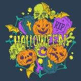 Tarjeta de Halloween con las calabazas y los elementos del horror Foto de archivo libre de regalías