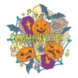 Tarjeta de Halloween con las calabazas y los elementos del horror Fotos de archivo libres de regalías