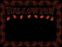 Tarjeta de Halloween con las letras y las arañas Fotos de archivo libres de regalías