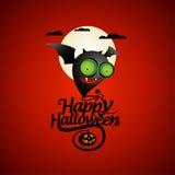 Tarjeta de Halloween con un palo. Fotos de archivo