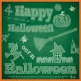 Tarjeta de Halloween en la pizarra verde Fotografía de archivo