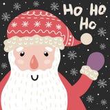 Tarjeta de Ho Ho Ho Christmas con Santa Claus y las letras lindas libre illustration