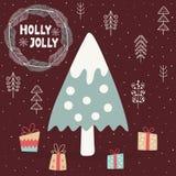 Tarjeta de Holly Jolly con un ?rbol de navidad lindo ilustración del vector