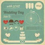 Tarjeta de Infographics de la invitación de la boda ilustración del vector