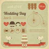 Tarjeta de Infographics de la invitación del día de boda Imagen de archivo libre de regalías