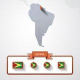 Tarjeta de información de Guyana Imagenes de archivo