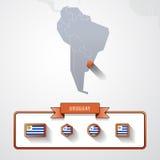 Tarjeta de información de Uruguay Imagen de archivo libre de regalías