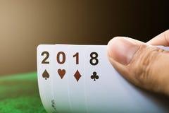 Tarjeta de juego de la Feliz Año Nuevo 2018 Fotos de archivo