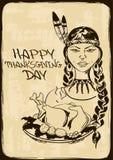 Tarjeta de la acción de gracias con la muchacha del indio del nativo americano Imagen de archivo