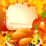 Tarjeta de la acción de gracias. fondo con el pavo Imagen de archivo libre de regalías