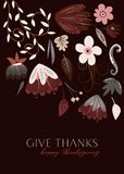Tarjeta de la acción de gracias de Autumn Flowers Give Thanks Happy libre illustration