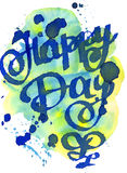 Tarjeta de la acuarela Día feliz Tarjeta de felicitación Enhorabuena Letras de la acuarela Imágenes de archivo libres de regalías