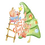 Tarjeta de la acuarela de la Feliz Navidad con el cerdo divertido lindo, árbol de pino y cita el poner letras imagen de archivo libre de regalías