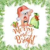 Tarjeta de la acuarela de la Navidad con el cerdo divertido lindo con poner letras a la cita feliz y brillante ilustración del vector