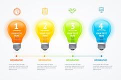 Tarjeta de la bandera del bulbo de la luz eléctrica de Infographic del negocio Vector stock de ilustración