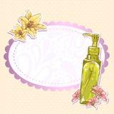 Tarjeta de la botella del maquillaje de Skincare stock de ilustración