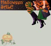 Tarjeta de la bruja de las compras de la venta de Halloween Fotografía de archivo libre de regalías