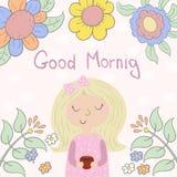 Tarjeta de la buena mañana con la chica joven linda, taza y Ilustración del vector libre illustration
