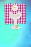Tarjeta de la cáliz de la canalización vertical, mi primera comunión para las muchachas Imagen de archivo libre de regalías