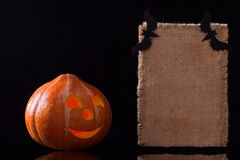 Tarjeta de la calabaza de Halloween imágenes de archivo libres de regalías