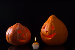 Tarjeta de la calabaza de Halloween imagen de archivo