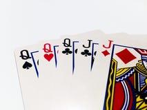 Tarjeta de la casa llena en juego de póker con el fondo blanco Fotos de archivo libres de regalías