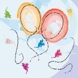 Tarjeta de la celebración con los globos Fotografía de archivo libre de regalías