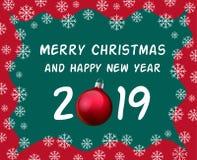 Tarjeta de la celebración de la Navidad y de la Feliz Año Nuevo, saludo del día de fiesta con la bola de la Navidad, chuchería ro stock de ilustración