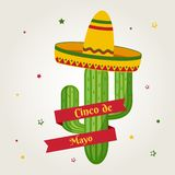 Tarjeta de la celebración para Cinco de Mayo Día de fiesta en México Vector libre illustration