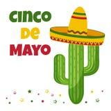 Tarjeta de la celebraci?n para Cinco de Mayo D?a de fiesta en M?xico Vector ilustración del vector