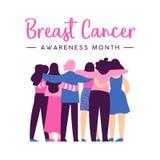 Tarjeta de la conciencia del cáncer de pecho del abrazo del amigo de las mujeres stock de ilustración