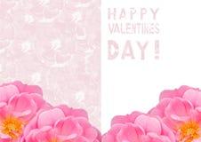 Tarjeta de la tarjeta del día del ` s de la tarjeta del día de San Valentín con un modelo rosado delicado Foto de archivo