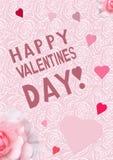 Tarjeta de la tarjeta del día del ` s de la tarjeta del día de San Valentín con un modelo rosado delicado Foto de archivo libre de regalías