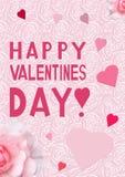 Tarjeta de la tarjeta del día del ` s de la tarjeta del día de San Valentín con un modelo rosado delicado Imagenes de archivo