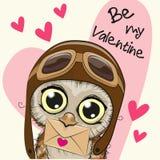Tarjeta de la tarjeta del día de San Valentín con el búho lindo de la historieta stock de ilustración
